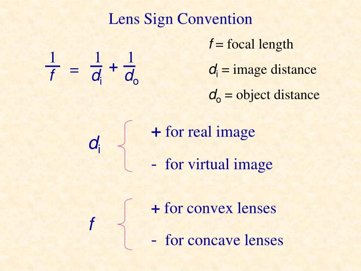 Lens Sign Convention