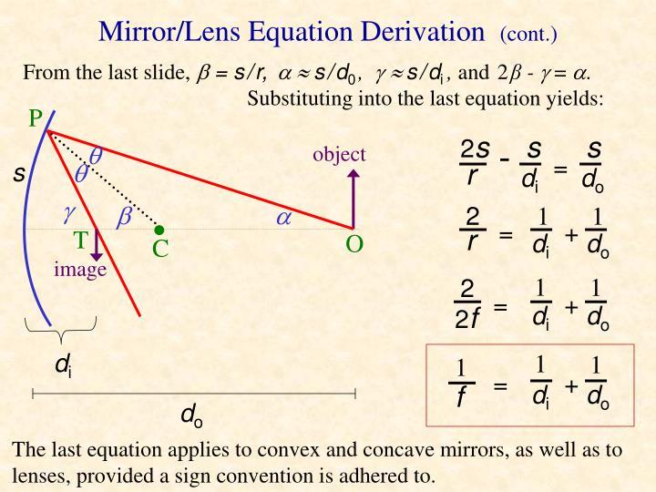 Mirror/Lens Equation Derivation