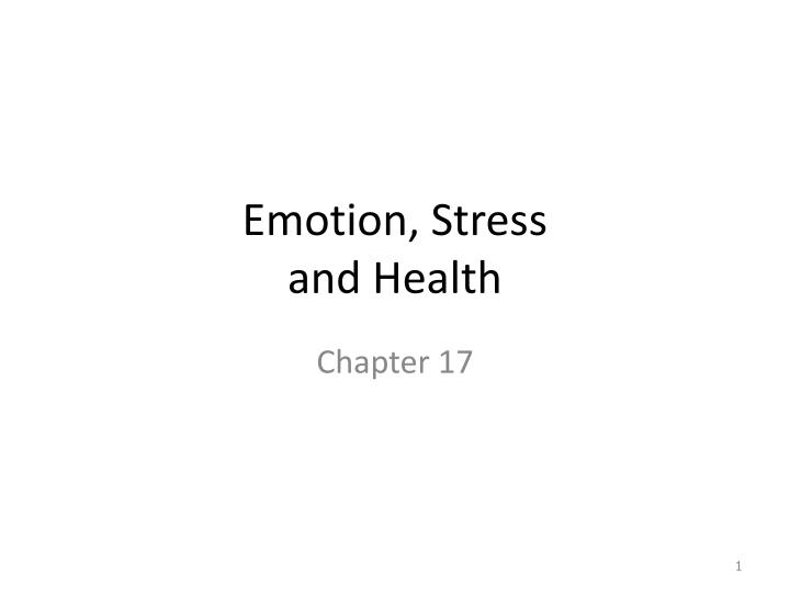 PPT Emotion Stress And Health PowerPoint Presentation