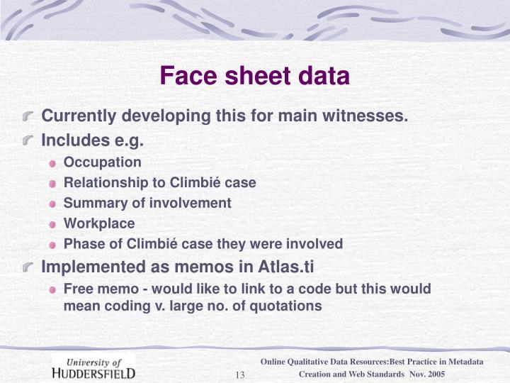 Face sheet data