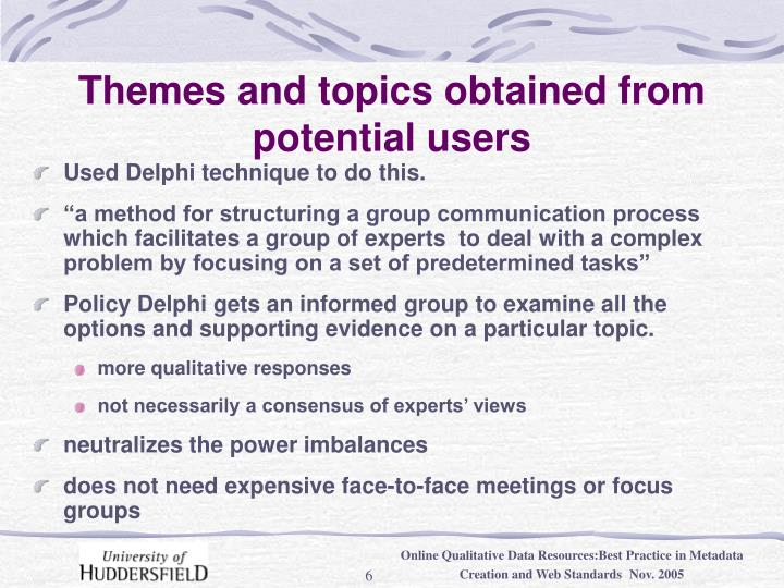 Themes and topics obtained from potential users