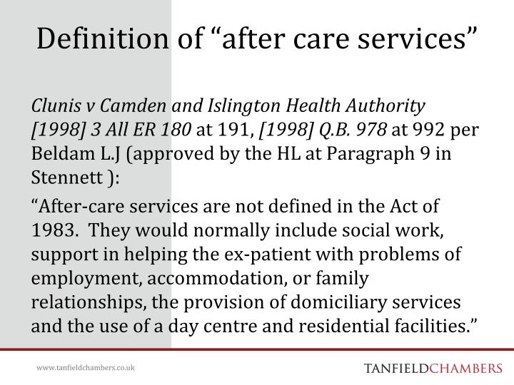 """Definition of """"after care services"""""""