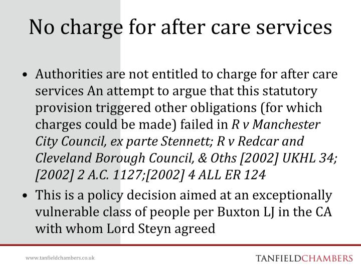 No charge for after care services