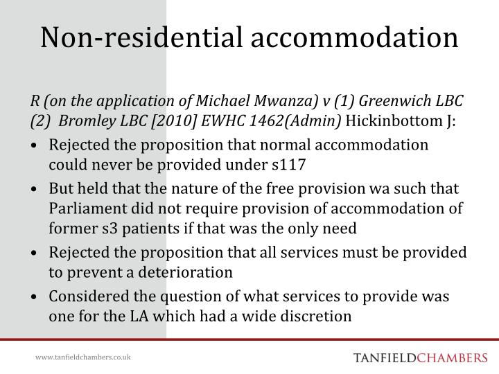 Non-residential accommodation