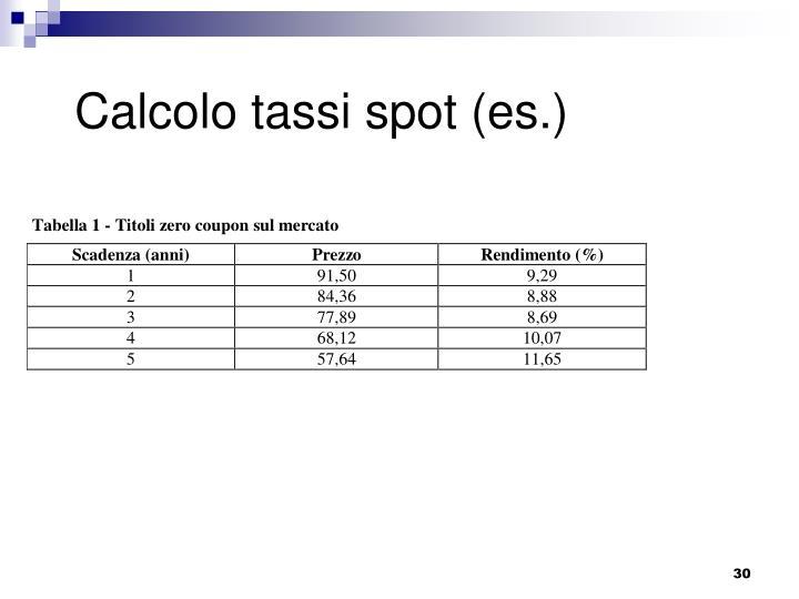 Calcolo tassi spot (es.)