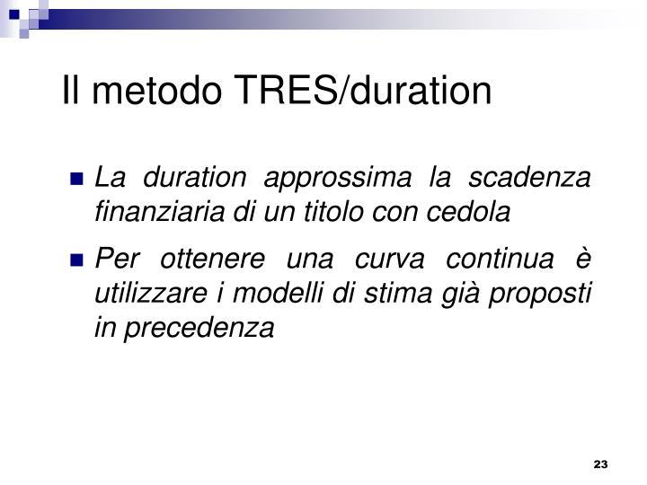 Il metodo TRES/duration
