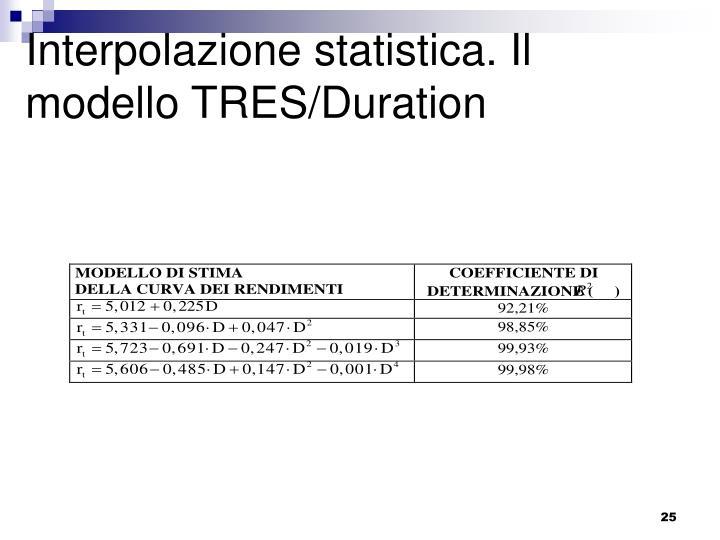 Interpolazione statistica. Il modello TRES/Duration