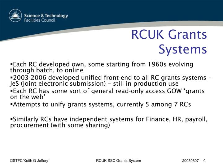 RCUK Grants Systems