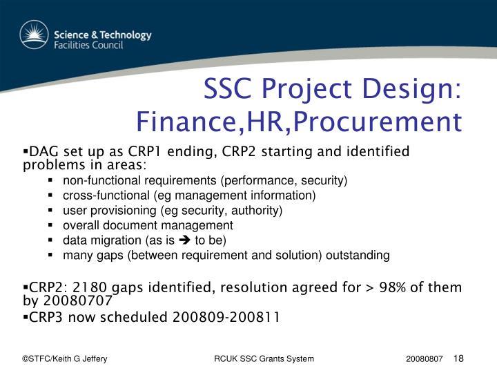 SSC Project Design: Finance,HR,Procurement