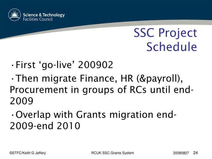 SSC Project Schedule