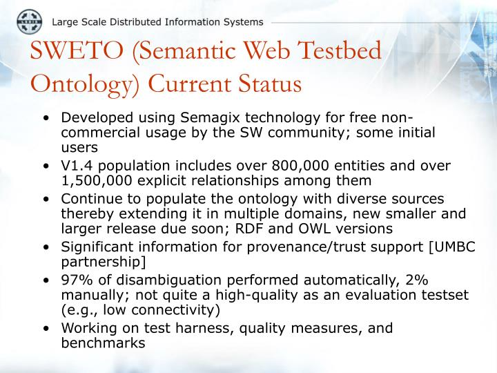 SWETO (Semantic Web Testbed Ontology) Current Status