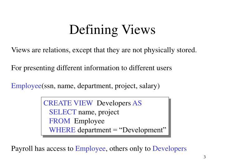 Defining views