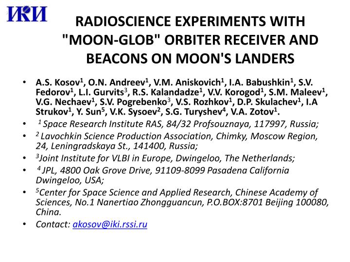 radioscience experiments with moon glob orbiter receiver and beacons on moon s landers n.