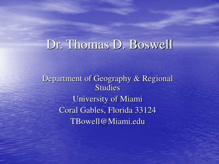 dr thomas d boswell n.