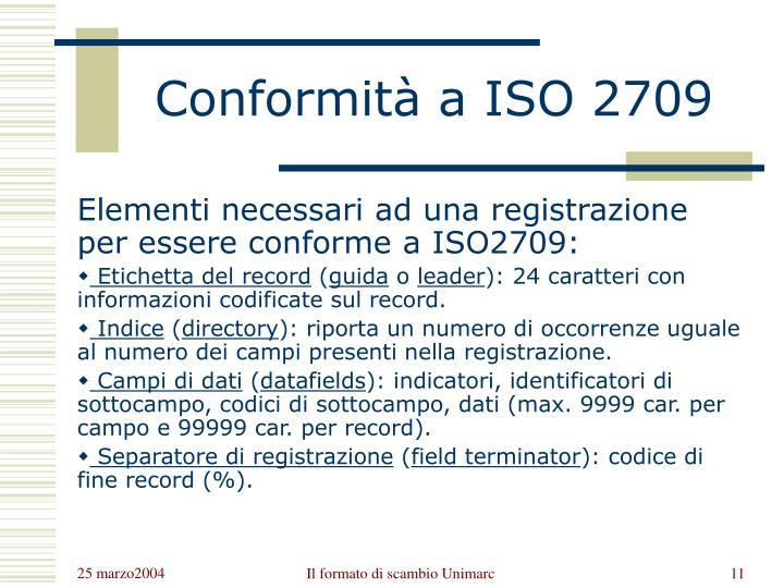 Conformità a ISO 2709