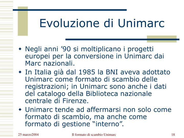 Evoluzione di Unimarc