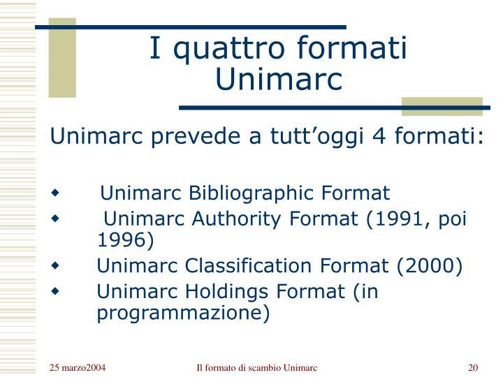 I quattro formati Unimarc