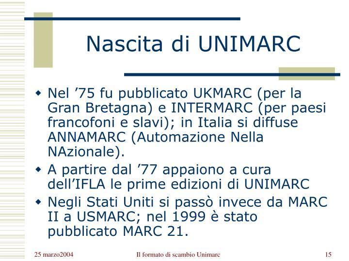 Nascita di UNIMARC