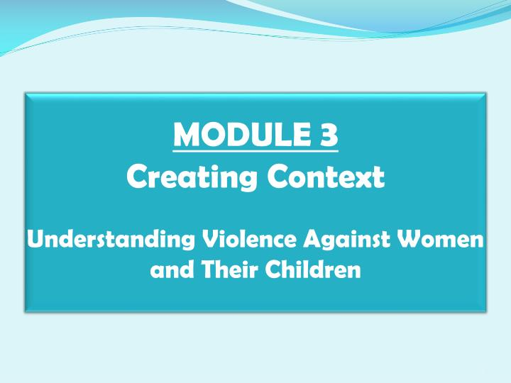 module 3 creating context understanding violence against women and their children n.