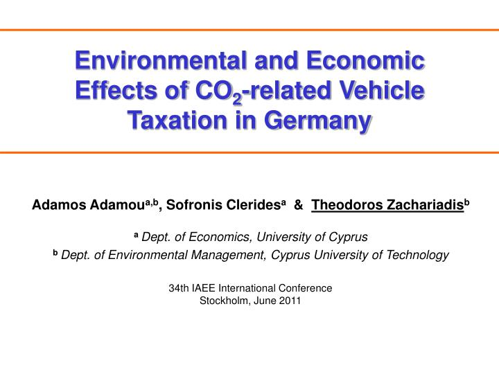 environmental and economic effects of co 2 related vehicle taxation in germany n.