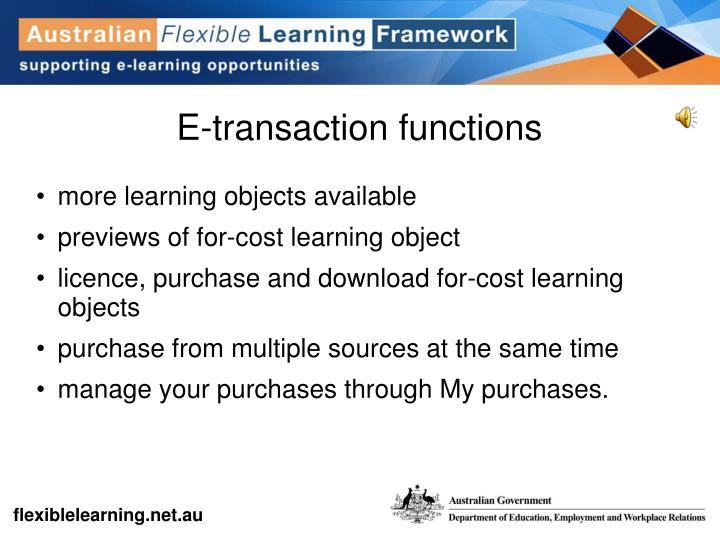 E-transaction functions