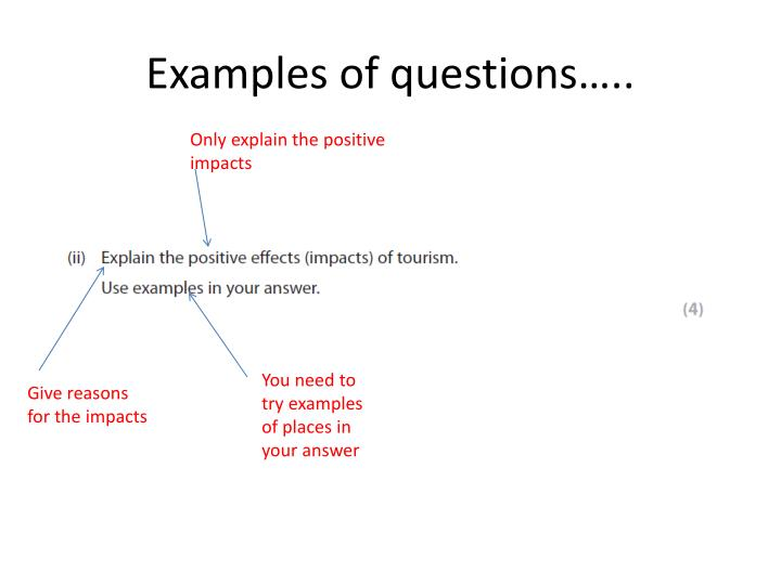 Examples of questions…..