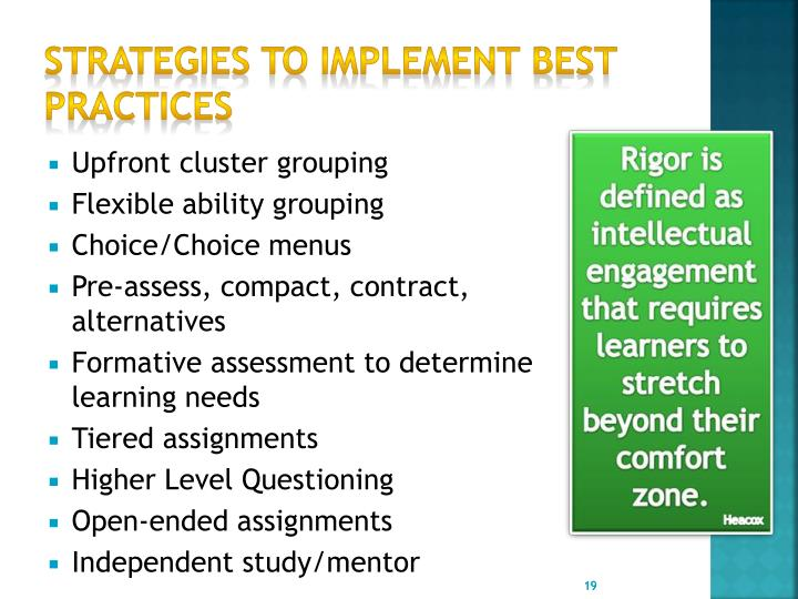 Strategies to implement best practices