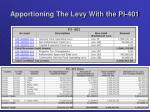 apportioning the levy with the pi 4011