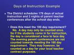 days of instruction example1