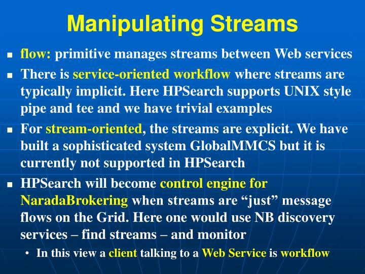 Manipulating Streams