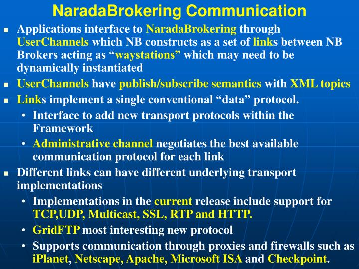 NaradaBrokering Communication