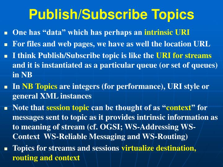 Publish/Subscribe Topics