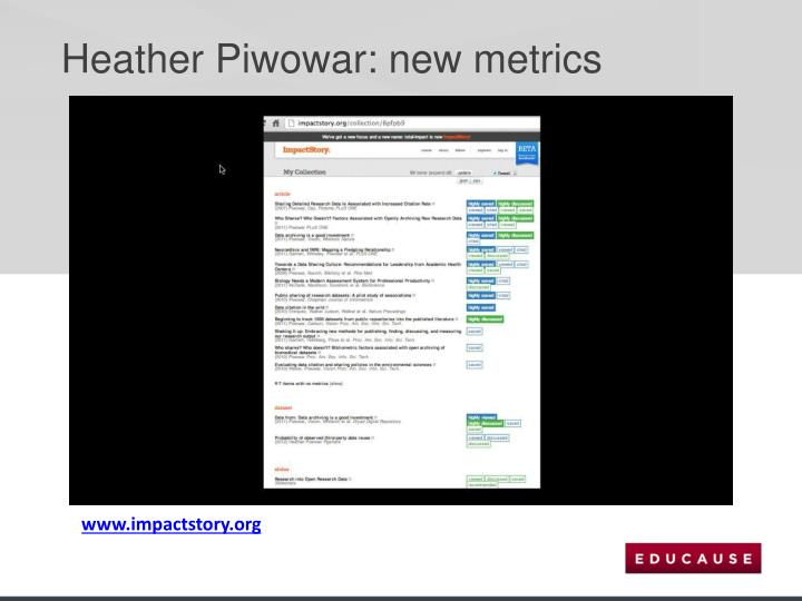 Heather Piwowar: new metrics