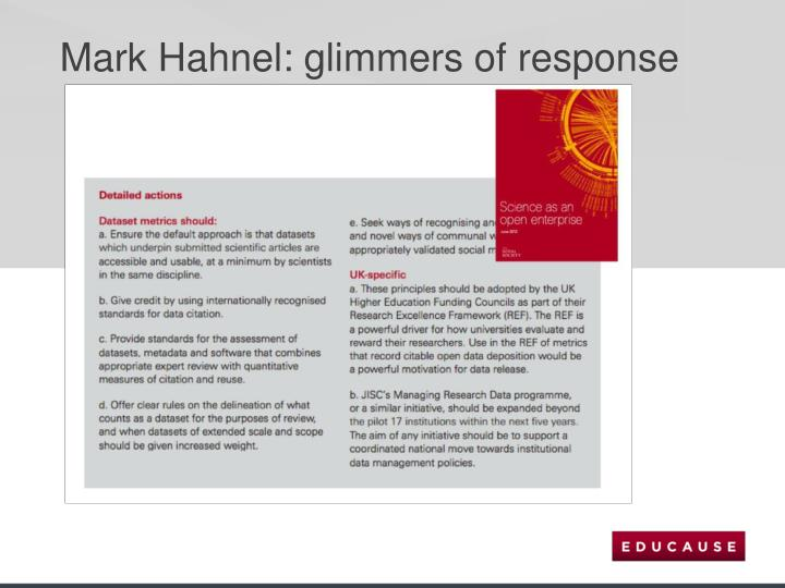 Mark Hahnel: glimmers of response