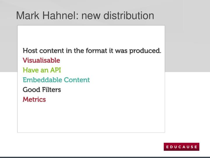 Mark Hahnel: new distribution