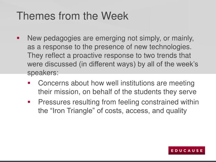 Themes from the Week