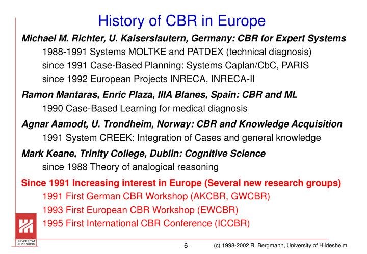 History of CBR in Europe