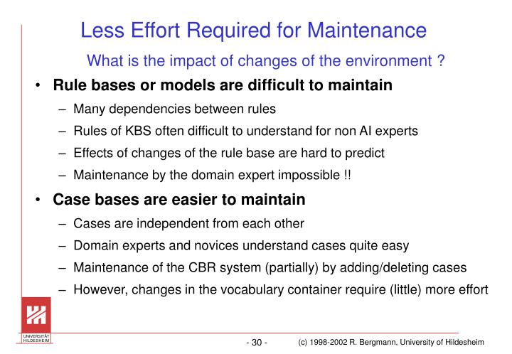 Less Effort Required for Maintenance