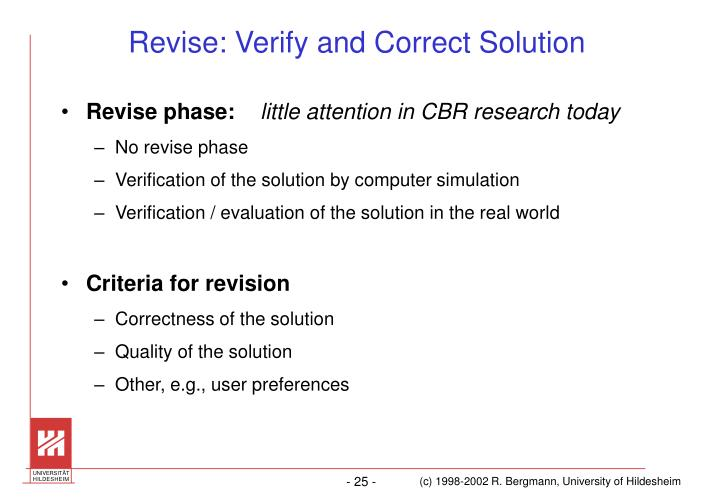 Revise: Verify and Correct Solution