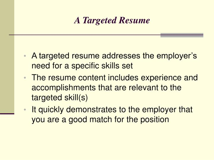 A Targeted Resume