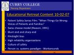 educational retreat content 10 02 07