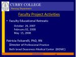 faculty project activities