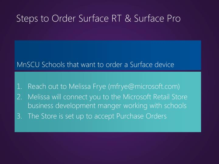 Steps to Order Surface RT & Surface Pro