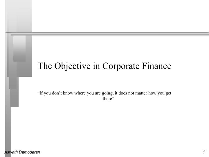 the objective in corporate finance n.
