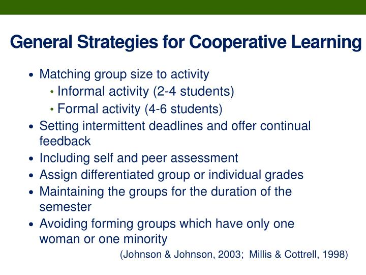 General Strategies for Cooperative Learning