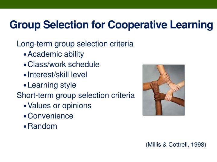 Group Selection for Cooperative Learning