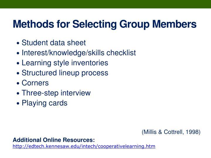 Methods for Selecting Group Members