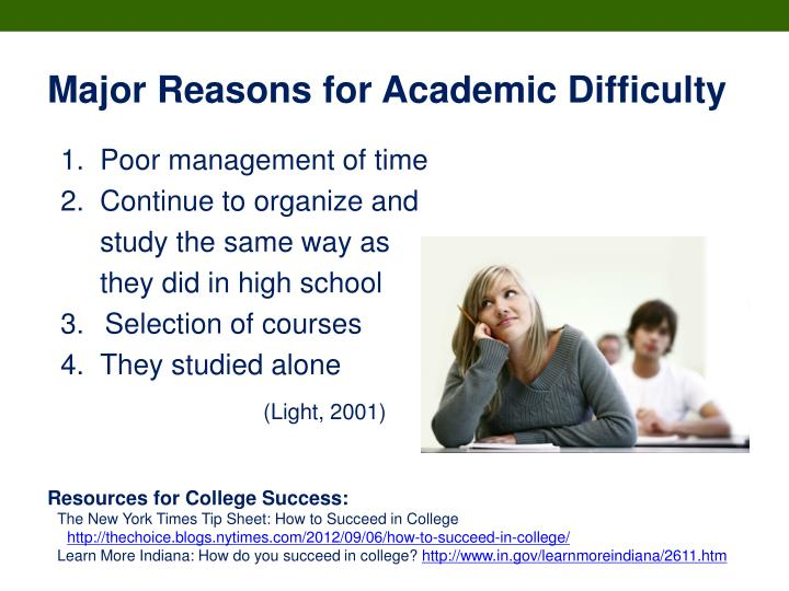 Major Reasons for Academic Difficulty