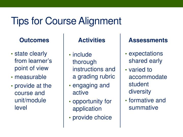 Tips for Course Alignment