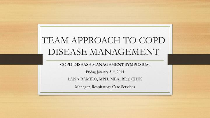 team approach to copd disease management n.